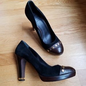 Tory Burch Riveted Stacked Heel Pumps